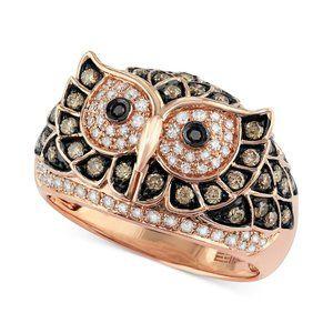 EFFY - White and Brown Diamond Owl Rose Gold Ring
